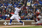Anthony Rizzo #44 of the Chicago Cubs hits a one-run single against the St. Louis Cardinals during the first inning on September 28, 2018 at Wrigley Field  in Chicago, Illinois.