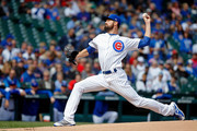 Cole Hamels #35 of the Chicago Cubs pitches against the St. Louis Cardinals during the first inning at Wrigley Field on September 29, 2018 in Chicago, Illinois.
