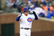 Anthony Rizzo #44 of the Chicago Cubs celebrates after hitting a RBI double in the third inning against the St. Louis Cardinals at Wrigley Field on September 30, 2018 in Chicago, Illinois.
