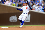 Anthony Rizzo #44 of the Chicago Cubs celebrates after hitting a double in the fifth inning against the St. Louis Cardinals at Wrigley Field on September 30, 2018 in Chicago, Illinois.