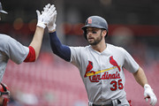 Greg Garcia #35 of the St. Louis Cardinals celebrates after hitting a solo home run in the second inning of the game against the Cincinnati Reds at Great American Ball Park on April 14, 2018 in Cincinnati, Ohio.