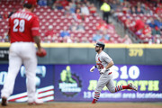Greg Garcia #35 of the St. Louis Cardinals rounds the bases after hitting a solo home run off of Brandon Finnegan #29 of the Cincinnati Reds in the second inning of the game at Great American Ball Park on April 14, 2018 in Cincinnati, Ohio.