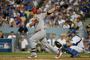 Matt Holliday #7 of the St. Louis Cardinals hits a three run homerun in the seventh inning during Game One of the National League Division Series at Dodger Stadium on October 3, 2014 in Los Angeles, California.