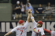 Matt Holliday #7 of the St. Louis Cardinals and Jon Jay #19 celebrate after the 3-2 win over the Milwaukee Brewers at Miller Park on September 04, 2014 in Milwaukee, Wisconsin.