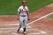 Matt Holliday #7 of the St. Louis Cardinals reacts after striking out in the eighth inning against the Pittsburgh Pirates during the game at PNC Park on August 27, 2014 in Pittsburgh, Pennsylvania.
