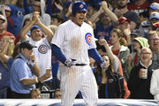 Anthony Rizzo #44 of the Chicago Cubs reacts after hitting an RBI single against the St. Louis Cardinals during the sixth inning during game two of a doubleheader on July 21, 2018 at Wrigley Field  in Chicago, Illinois.