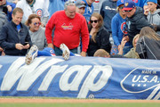 Anthony Rizzo #44 of the Chicago Cubs reaches for a foul ball into the stands hit by Jose Martinez #38 of the St. Louis Cardinals (not pictured) during the eighth inning at Wrigley Field on September 29, 2018 in Chicago, Illinois. The St. Louis Cardinals won 2-1.