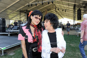 Singers Rosie Flores (L) and Wanda Jackson  pose backstage during 2011 Stagecoach: California's Country Music Festival at the Empire Polo Club on May 1, 2011 in Indio, California.