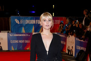 "Hannah Arterton attends the World Premiere of ""Stan & Ollie"" and closing night gala of the 62nd BFI London Film Festival on October 21, 2018 in London, England."