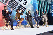 "Actor Zachary Quinto, Actress Zoe Saldan, Director Justin Lin, Actor Chris Pine and Actor Simon Peg (L-R) attend the press conference of the Paramount Pictures title ""Star Trek Beyond"", on August 18, 2016 at Indigo Mall in Beijing, China."