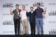 "(L-R) Actors Chris Pine, Simon Pegg, Zachary Quinto and director Justin Lin attend the Press Conference and Photocall in advance of the Fan Screening of the Paramount Pictures title ""Star Trek Beyond,"" on August 16, 2016 at Grand Intercontinental Hotel in Seoul, South Korea."