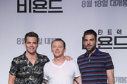 "(L-R) Actors Chris Pine, Simon Pegg and Zachary Quinto attend the Press Conference and Photocall in advance of the Fan Screening of the Paramount Pictures title ""Star Trek Beyond,"" on August 16, 2016 at Grand Intercontinental Hotel in Seoul, South Korea."