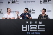 "(L-R) Actors Simon Pegg, Zachary Quinto and Chris Pine attend the Press Conference and Photocall in advance of the Fan Screening of the Paramount Pictures title ""Star Trek Beyond,"" on August 16, 2016 at Grand Intercontinental Hotel in Seoul, South Korea."