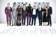 "(L-R) Zachary Quinto, Karl Urban, Sofia Boutella, John Cho, Idris Elba, director Justin Lin, Simon Pegg, Lydia Wilson and Chris Pine attend the UK Premiere of Paramount Pictures ""Star Trek Beyond"" at the Empire Leicester Square on July 12, 2016 in London, England."