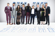 "(L-R) Zachary Quinto, Karl Urban, Sofia Boutella, John Cho, Idris Elba, director Justin Lin, Simon Pegg, Lydia Wilson.and Chris Pine attend the UK Premiere of Paramount Pictures ""Star Trek Beyond"" at the Empire Leicester Square on July 12, 2016 in London, England."
