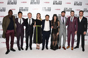 "(L-R) Idris Elba, John Cho, Simon Pegg, Lydia Wilson, director Justin Lin,  Sofia Boutella, Karl Urban, Zachary Quinto and Chris Pine attend the UK Premiere of Paramount Pictures ""Star Trek Beyond"" at the Empire Leicester Square on July 12, 2016 in London, England."