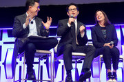 "(L-R) Moderator Stephen Colbert, Director J.J. Abrams and Producer Kathleen Kennedy onstage during ""The Rise of Skywalker"" panel at the Star Wars Celebration at McCormick Place Convention Center on April 12, 2019 in Chicago, Illinois."