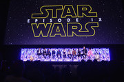 "(L-R) BB-8, Moderator Stephen Colbert, Director J.J. Abrams, Producer Kathleen Kennedy, Anthony Daniels (C-3PO), Billy Dee Williams (Lando Calrissian), Daisy Ridley (Rey), John Boyega (Finn), Oscar Isaac (Poe Dameron), Kelly Marie Tran (Rose Tico), Joonas Suotamo (Chewbacca), Naomi Ackie (Jannah) and R2-D2 onstage during ""The Rise of Skywalker"" panel at the Star Wars Celebration at McCormick Place Convention Center on April 12, 2019 in Chicago, Illinois."