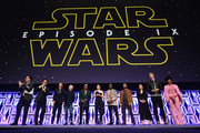 "(L-R) Moderator Stephen Colbert, Director J.J. Abrams, Producer Kathleen Kennedy, Anthony Daniels (C-3PO), Billy Dee Williams (Lando Calrissian), Daisy Ridley (Rey), John Boyega (Finn), Oscar Isaac (Poe Dameron), Kelly Marie Tran (Rose Tico), Joonas Suotamo (Chewbacca) and Naomi Ackie (Jannah) onstage during ""The Rise of Skywalker"" panel at the Star Wars Celebration at McCormick Place Convention Center on April 12, 2019 in Chicago, Illinois."