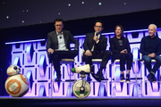 "(L-R) Moderator Stephen Colbert, Director J.J. Abrams, Producer Kathleen Kennedy and Anthony Daniels (C-3PO) with BB-8 and D-O in the foreground onstage during ""The Rise of Skywalker"" panel at the Star Wars Celebration at McCormick Place Convention Center on April 12, 2019 in Chicago, Illinois."
