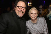 Actors Jon Favreau (L) and Gwendoline Christie at Star Wars: The Last Jedi Premiere at The Shrine Auditorium on December 9, 2017 in Los Angeles, California.
