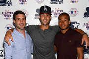 Soccer players  Chris Pontius of DC United, Kyle Reynish of The Cosmos and Ethan White of DC United attend the Starter x MLB All-Star Launch Party at MLB Fan Cave on July 13, 2013 in New York City.
