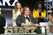 Emily Browning, Tanya Saracho and Yetide Badaki speak onstage for Starz 'Fiercely Female Panel' during the Starz 2019 Winter TCA Panel & All-Star After Party on February 12, 2019 in Los Angeles, California.