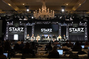 (L-R) Tanya Saracho, Mishel Prada, Melissa Barrera, Ser Anzoategui, Roberta Colindrez, Chelsea Rendon, Carlos Miranda and Raul Castillo of 'Vida' speak onstage during the Starz 2019 Winter TCA Panel & All-Star After Party on February 12, 2019 in Los Angeles, California.