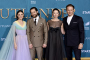 "(L-R) Sophie Skelton, Richard Rankin, Caitriona Balfe and Sam Heughan attend the Starz Premiere event for ""Outlander"" Season 5 at Hollywood Palladium on February 13, 2020 in Los Angeles, California."