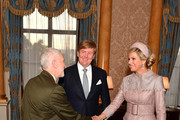 Leader of the Opposition (The Labour Party) Jeremy Corbyn greets King Willem-Alexander of the Netherlands and Queen Maxima of The Netherlands during a private audience in the 1844 Room at Buckingham Palace during their state visit to the UK on October 23, 2018 in London, United Kingdom. King Willem-Alexander of the Netherlands accompanied by Queen Maxima are staying at Buckingham Palace during their two day stay in the UK. The last State Visit from the Netherlands was by Queen Beatrix and Prince Claus in 1982.