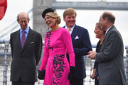 (L-R) Prince Edward, Duke of Kent, Queen Maxima and King Willem-Alexander of the Netherlands, Sophie Countess of Wessex and Prince Edward, Earl of Wessex on HMS Belfast to watch an on-the-water capability demonstration between the Royal Netherlands Marine Corps and the Royal Marines on October 24, 2018 in London, England. King Willem-Alexander of the Netherlands accompanied by Queen Maxima are staying at Buckingham Palace during their two day stay in the UK. The last State Visit from the Netherlands was by Queen Beatrix and Prince Claus in 1982.