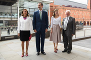 King Felipe (2L) and Queen Letizia (2R) of Spain arrive at the Francis Crick Institute during a State visit by the King and Queen of Spain on July 14, 2017 in London, England.  This is the first state visit by the current King Felipe and Queen Letizia, the last being in 1986 with King Juan Carlos and Queen Sofia.