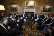 British Prime Minister David Cameron (C-R) holds talks with Chinese President Xi Jinping (C-L) with their aides at his official residence at Chequers on October 22, 2015 in Aylesbury, England. The President of the Peoples Republic of China, Mr Xi Jinping and his wife, Madame Peng Liyuan, end a State Visit to the United Kingdom as guests of The Queen.  They stayed at Buckingham Palace and undertook engagements in London and Manchester. The last state visit paid by a Chinese President to the UK was Hu Jintao in 2005.