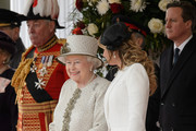 Queen Elizabeth II (L) speaks with Angelica Rivera, wife of Mexican President Enrique Pena Nieto, during a Ceremonial Welcome at Horse Guards Parade on March 3, 2015 in London, England.  The President of Mexico, accompanied by Senora Angelica Rivera de Pena, are on a State Visit to the United Kingdom as the guests of Her Majesty The Queen from Tuesday 3rd March to Thursday 5th March.