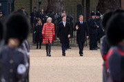 Home Secretary Theresa May, (L) Deputy Prime Minister Nick Clegg (C) and Prime Minister David Cameron (R) arrive for a Ceremonial Welcome for the President of Mexico, Enrique Pena Nieto and his wife Angelica Rivera at Horse Guards Parade on March 3, 2015 in London, England.  The President of Mexico, accompanied by Senora Angelica Rivera de Pena, are on a State Visit to the United Kingdom as the guests of Her Majesty The Queen from Tuesday 3rd March to Thursday 5th March.