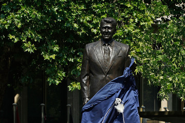 Fred Ryan A Statue To Former President Ronald Reagan Is Unvelied At The US Embassy