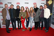 """(L-R) Dan Madison Savage, Thomas Mann, Walton Goggins, Alice Englert, Kaitlyn Dever, Britt Poulton, Jim Gaffigan, Bradley Gallo, and Lewis Pullman attend the Stella Artois & Deadline Sundance Series at Stella's Film Lounge: A Live Q&A with the directors, producers and cast of """"Them That Follow"""" at Stella's Film Lounge on January 25, 2019 in Park City, Utah."""