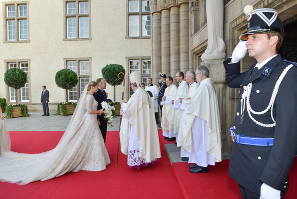 The Wedding Of Prince Guillaume Of Luxembourg & Stephanie de Lannoy - Official Ceremony [bishop,ceremony,event,tradition,pope,clergy,cope,rite,deacon,guillaume of luxembourg stephanie de lannoy - official ceremony,jean-claude hollerich,stephanie de lannoy,jehan de lannoy,prince,belgian countess,sales,luxembourg,wedding,wedding ceremony]