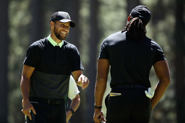 American Century Championship - Round Two [golf,recreation,competition event,fourball,coach,golfer,sports training,championship,cap,sport venue,stephen curry,larry fitzgerald,american century championship,golfer,golf,golf,golf course,nba,golden state warriors,round,four-ball golf,golf,outerwear,competition]
