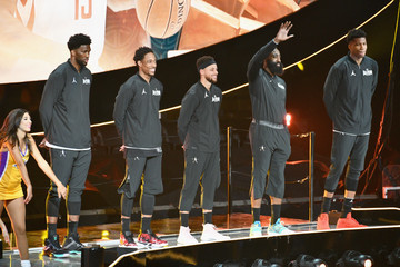 Stephen Curry James Harden Celebrities At The 67th NBA All-Star Game: Team LeBron Vs. Team Stephen