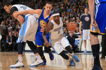 Stephen Curry Javale Mcgee Golden State Warriors v Denver Nuggets