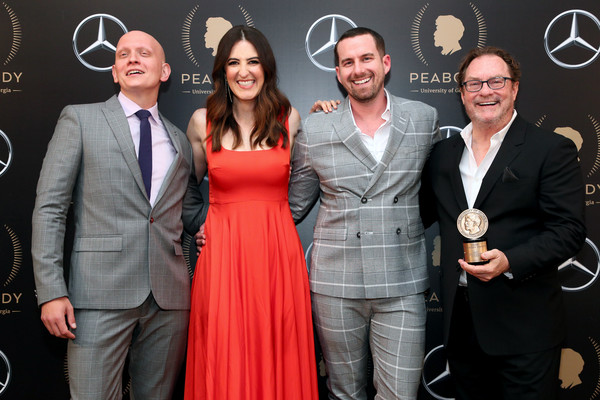 78th Annual Peabody Awards Ceremony Sponsored By Mercedes-Benz - Press Room [red,event,fashion,award,carpet,eyewear,premiere,award ceremony,dress,flooring,rightor doyle,stephen root,anthony carrigan,darcy carden,l-r,mercedes-benz - press room,press room,cipriani wall street,new york city,annual peabody awards ceremony]