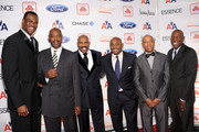 (L-R) Steve Harvey Foundation co-chairs David Robinson, Raymond McGuire, Steve Harvey, Steve Stoute, Russell Simmons, and Geoffrey Canada attend the 2nd annual Steve Harvey Foundation Gala at Cipriani, Wall Street on April 4, 2011 in New York City.