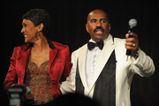 Journalist Robin Roberts and host Steve Harvey speak on stage during the New York Gala benefiting The Steve Harvey Foundation at Cipriani, Wall Street on May 3, 2010 in New York City.