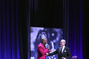 (L-R) Terry Crews and Kelsey Grammer speak onstage Steven Tyler's Third Annual GRAMMY Awards Viewing Party to benefit Janie's Fund presented by Live Nation at Raleigh Studios on January 26, 2020 in Los Angeles, California.