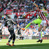 Mamadou Sakho Photos - Wayne Hennessey of Crystal Palace and Peter Crouch of Stoke City battle for the ball as Mamadou Sakho of Crystal Palace looks on during the Premier League match between Stoke City and Crystal Palace at Bet365 Stadium on May 5, 2018 in Stoke on Trent, England. - Stoke City vs. Crystal Palace - Premier League