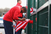 Wilson Palacios of Stoke City signs autographs prior to the Barclays Premier League match between Stoke City and Crystal Palace at Britannia Stadium on March 21, 2015 in Stoke on Trent, England.