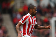 Glen Johnson of Stoke City in action during the Premier League match between Stoke City and West Ham United at Bet365 Stadium on April 29, 2017 in Stoke on Trent, England.