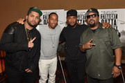 """(L-R) Actor O'Shea Jackson Jr., rapper Ludacris, recording artist Usher Raymond and rapper/actor Ice Cube attend """"Straight Outta Compton"""" VIP Screening With Director/ Producer F. Gary Gray, Producer Ice Cube, Executive Producer Will Packer, And Cast Members at Regal Atlantic Station on July 24, 2015 in Atlanta, Georgia."""