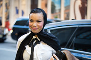 Olympic fencer Ibtihaj Muhammad poses outside of the Christian Siriano show during New York Fashion Week on February 9, 2019 in New York City.